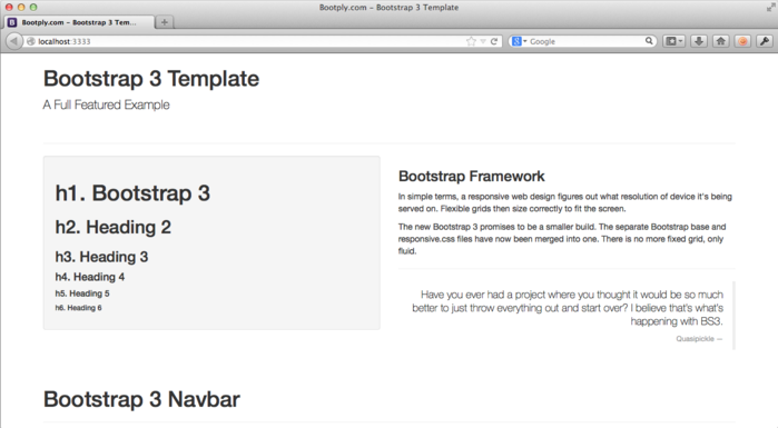 The Bootstrap 3 template's default home page